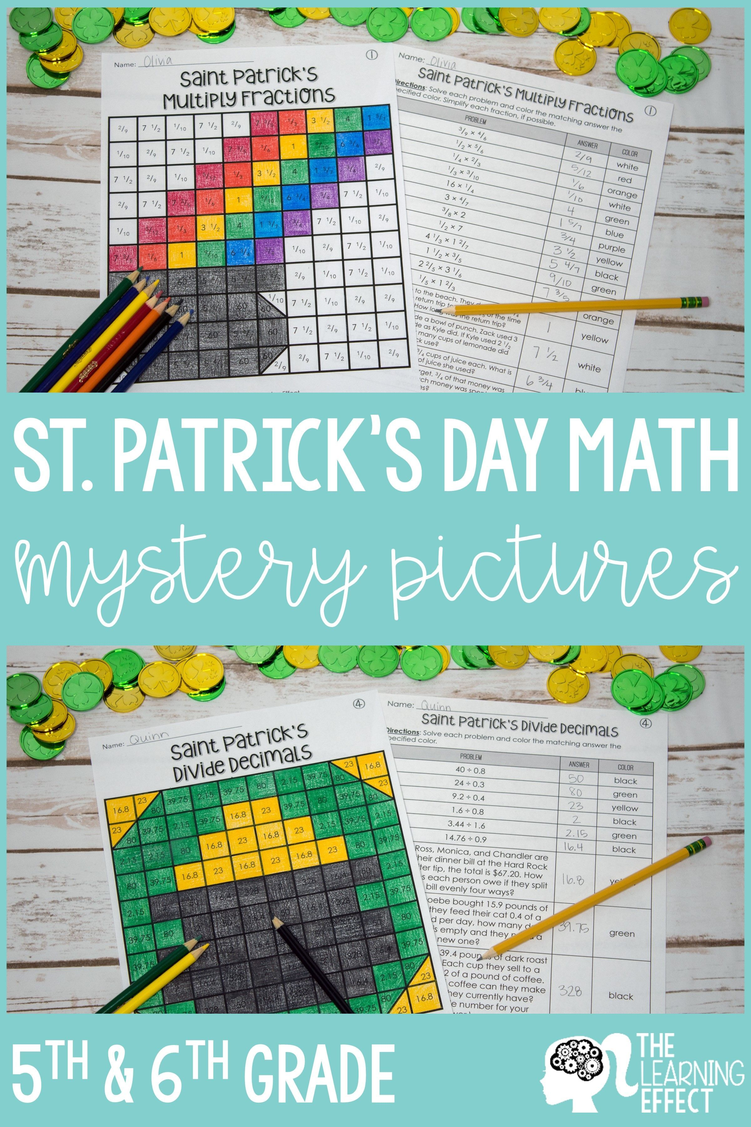 St Patrick S Day Math Mystery Pictures Fractions