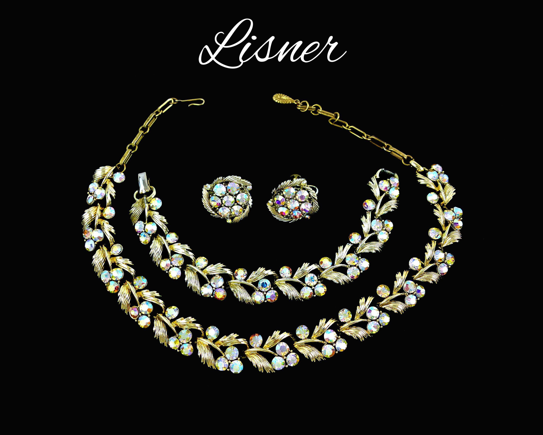 Lisner aurora borealis rhinestone necklace bracelet u earrings set