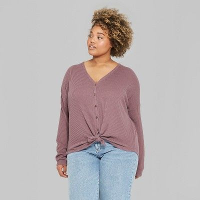 0a87ae4cdf6 Women s Plus Size Striped Long Sleeve Oversize Thermal Tie Front Top - Wild  Fable Plum 3X