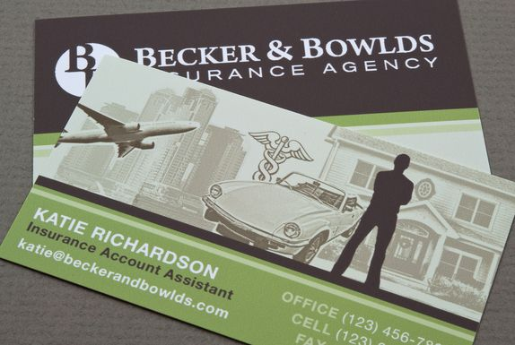 Graphic business card design for an insurance agent ...