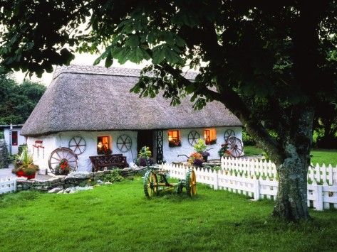Traditional Thatch Cottage In Oughterard In County Galway