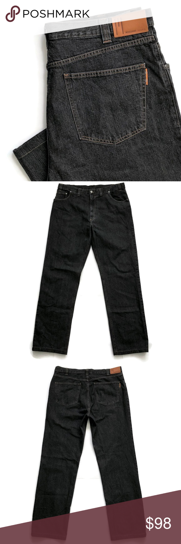 49668432 Missoni Jeans Size 42 x 36 Rochester Big Tall Missoni Men's Designer Jeans  Size 42 x 36 Rochester Straight Black Denim Italy Brand: Missoni Tag Size:  42 ...