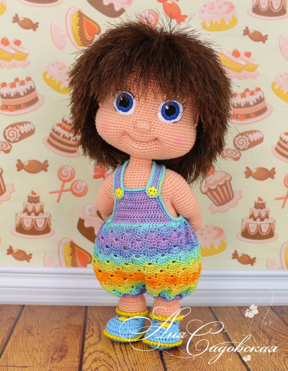 PLEASE NOTE! That this is a pattern only not a finished project!  The doll is crocheted, the rompers are sewed. In the pattern there are the sandals, the rompers pattern and the crocheted rompers (see the photo above).  ********************************  This pattern is written in English language (USA terminology).  SKILL LEVEL: upper intermediate  ******************************** You can buy the yarn set for crocheting this doll Alyonushka is here…
