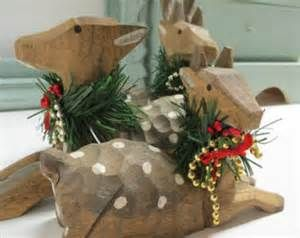 Carved wood deer christmas decor christmas display carved wood