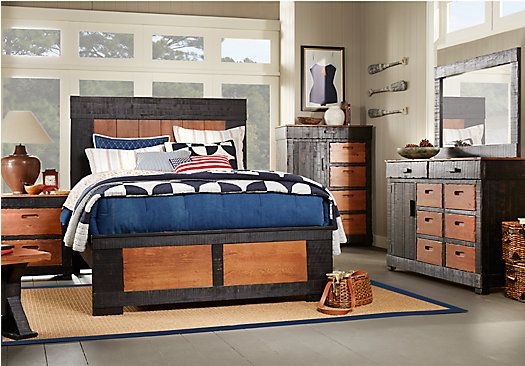 Shop for a Pine Mountain Black 5 Pc Queen Bedroom at Rooms To Go ...