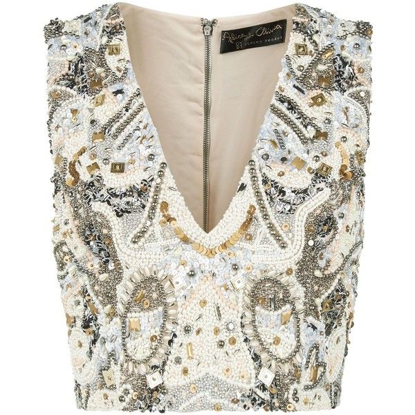Alice Olivia Lydia Embellished Crop Top 3 665 Hrk Liked On Polyvore Featuring Tops White Party Tops With Images Embellished Crop Top Party Crop Tops Beaded Crop Top