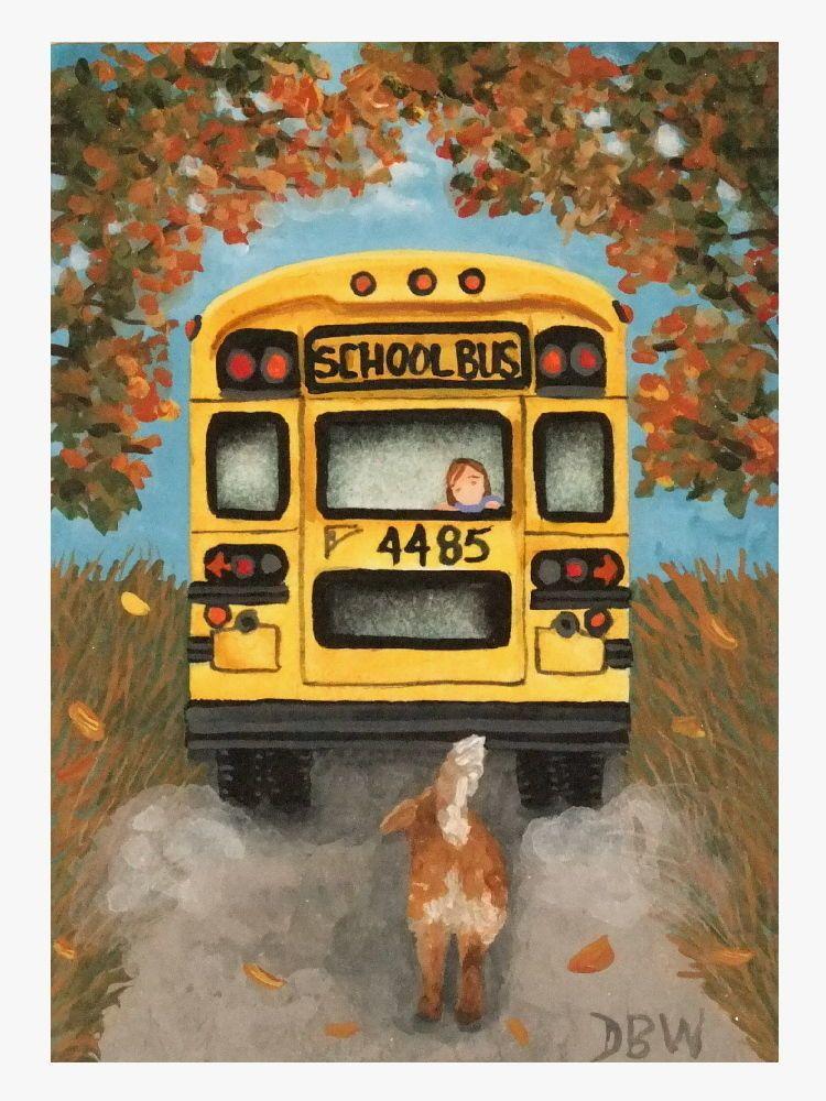 ACEO original acrylic painting folk art dog school bus child autumn sentimental Donna Beilstein Warren Ebay ID tooey.2013
