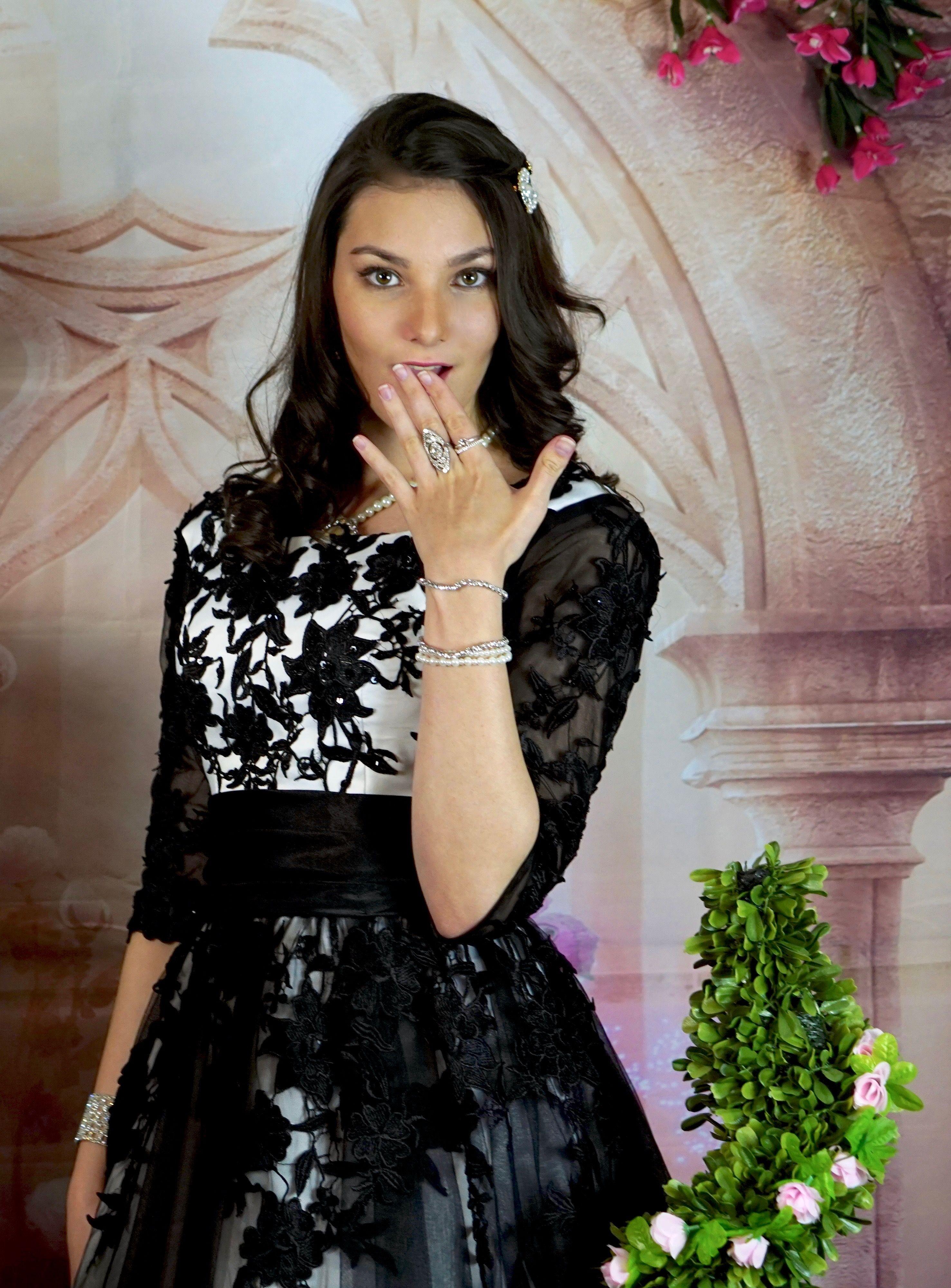 Blackivory lace sleeves aline wedding bridal tea length