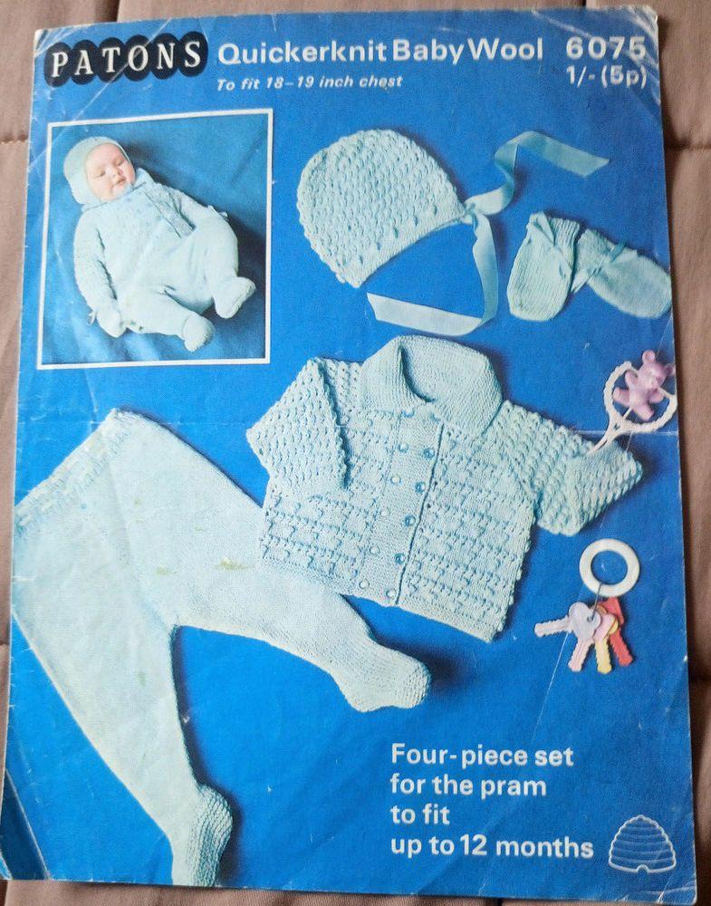 Baby Pram Set Patons 6075 vintage knitting pattern quickerknit yarn ...