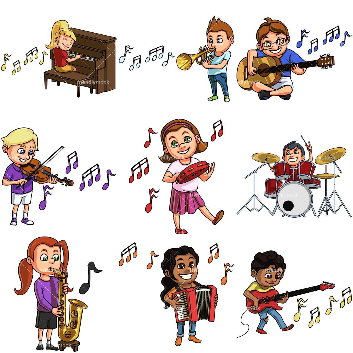 Kids Playing Musical Instruments Cartoon Clipart Vector Friendlystock Cartoon Clip Art Kids Playing Music Cartoon