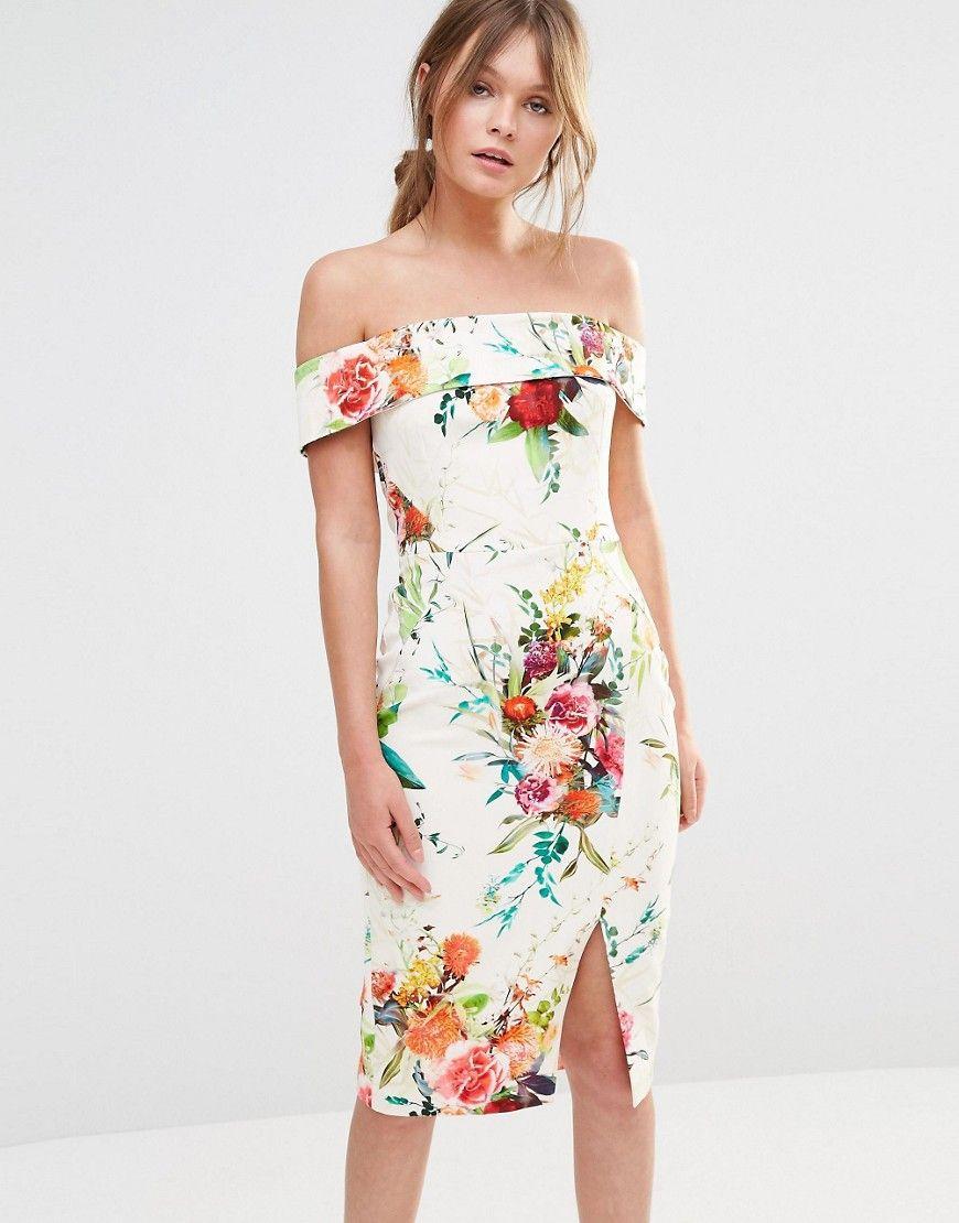 Image 1 ofOasis Floral Bardot Pencil Dress