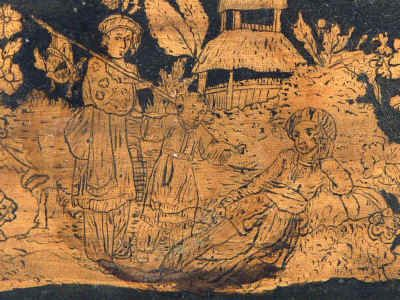 A  Regency three compartment Penwork Tea caddy decorated all over with exotic penwork scenes on a sycamore ground . Circa 1820. tcpendisfam08.jpg (165465 bytes)