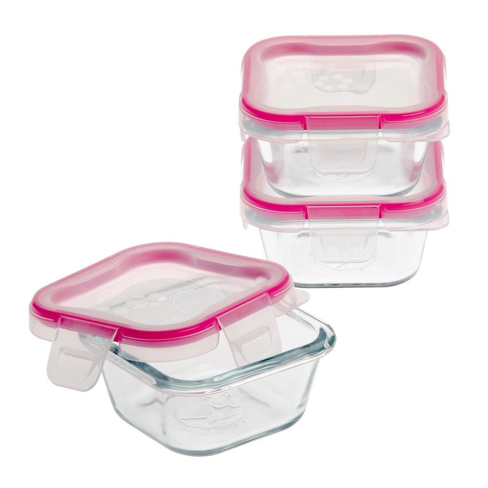 Snapware Total Solutions 1 Cup Glass Square Storage Container 3 Pack Glass Food Storage Containers Glass Food Storage Snapware