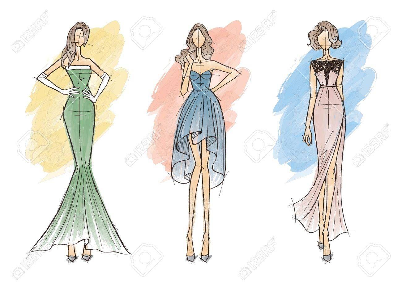 Fashion Design Sketch Drawing Models In 2020 Fashion Illustration Vintage Dress Design Sketches Fashion Model Sketch