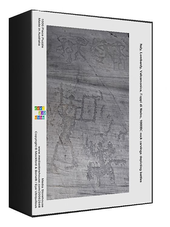 1000 Piece Jigsaw Puzzle. Italy, Lombardy, Valcamonica, Foppi di Nadro, 1000BC rock carvings depicting battles.. rocks, rock, lombardy, carvings, pre historic, valcamonica, foppe di nadro. Image supplied by EyeUbiquitous