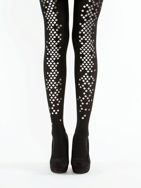 0961d3a9bc3462 Goth Clothing, Black mermaid tights, semi-opaque scale tights S-XL ...