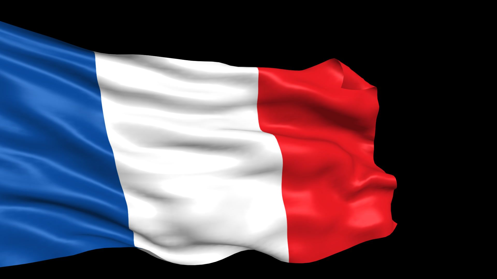 France Flag Looped With Alpha Channel Stock Footage Looped Flag