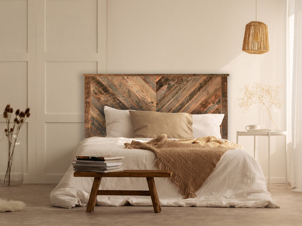 Herringbone Reclaimed Wood Headboard - Multiple Sizes: Twin, Double, Queen, King - Customizable - Farmhouse - Rustic - Bedroom Furniture