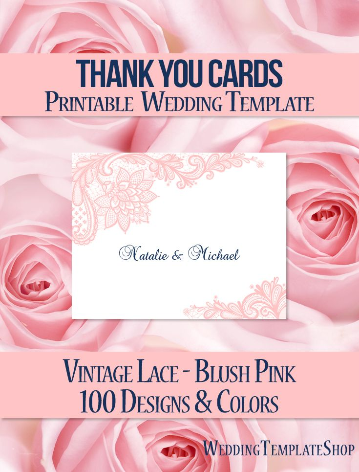 Wedding Thank You Card Vintage Lace blush Pink Navy Vintage lace