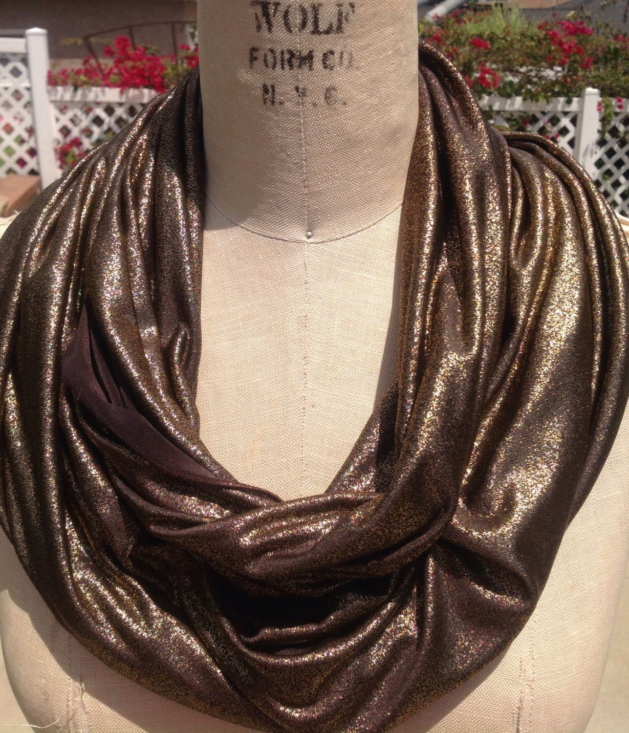 Metallic bronze infinity scarf by DeZeStar on Etsy