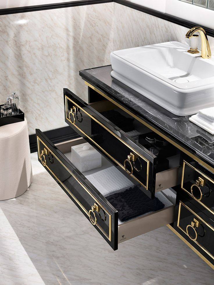 Luxury gold and black drawers w/ gold pulls