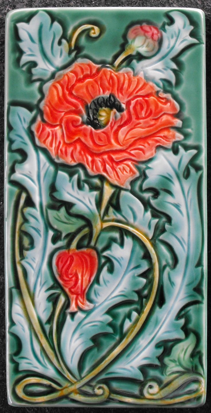 Art nouveau poppies tattoojpg tattoo pictures art nouveau poppy ceramic tile by mary philpott contemporary art pottery dailygadgetfo Gallery