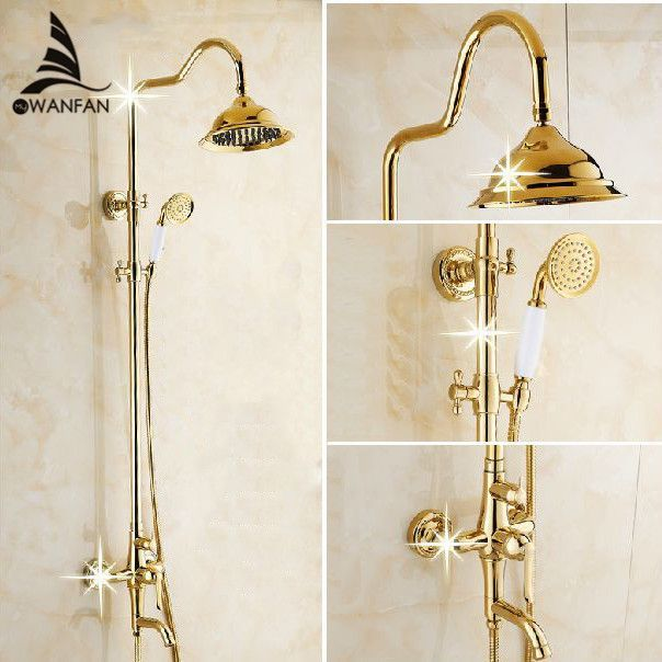 Free Shipping Wholesale Retail Luxury Gold Brass Shower Faucet Set Single Ceramic Handle Tub Mixer Shower Heads Shower Faucet Handheld Shower Head