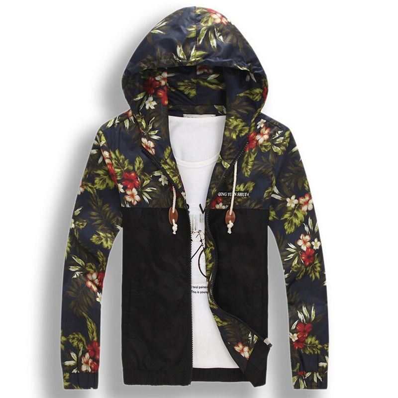 73f224b2026c Mens Floral Hoodie Jacket Coat New Fashion Flower Printed .