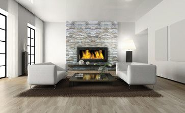 Fireplace Slate Contemporary Family Room Chicago