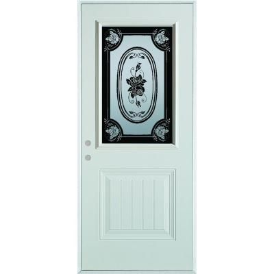 Stanley Doors 32 In X 80 In Silkscreened Glass 1 2 Lite 1 Panel Painted White Right Hand Inswing Steel Prehung Front Door 5012s C 32 R Modern Door Decorative Hinges Doors