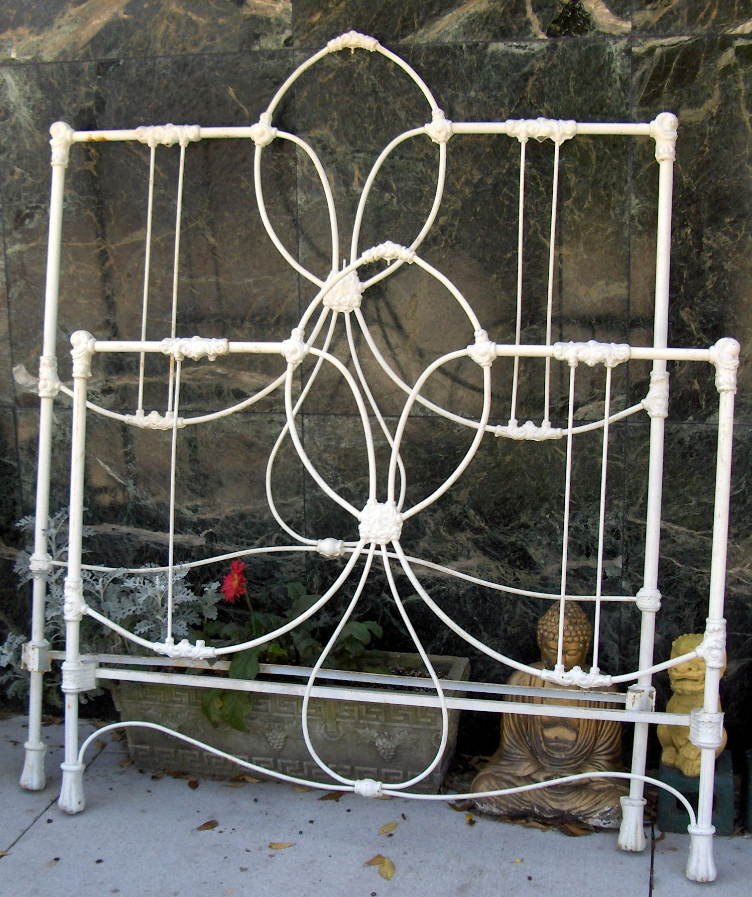 Antique Vintage White Cast Iron Full Bed Wrought iron