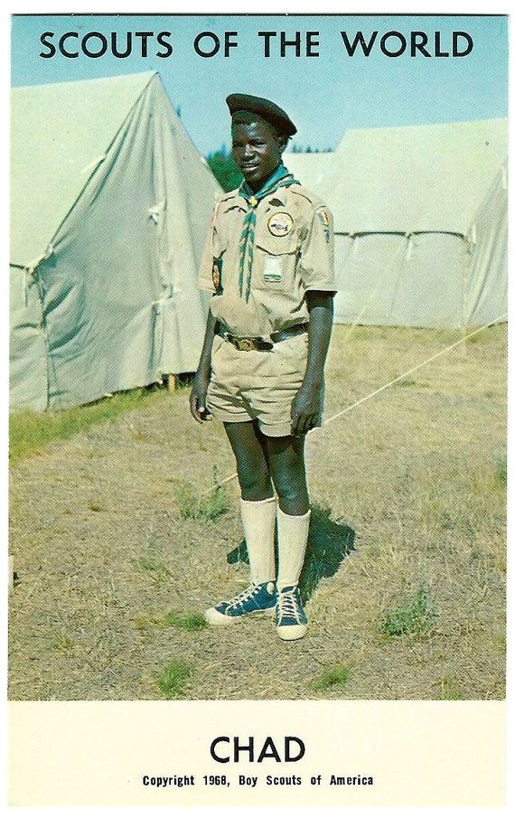 1968 Chad Africa Boy Scouts of the World Postcard, African