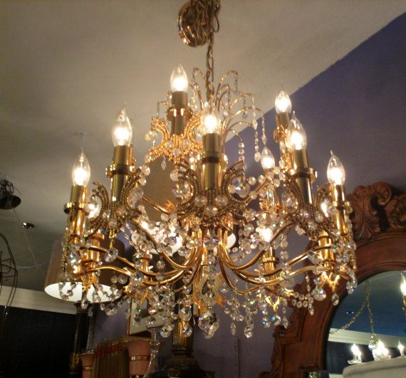 Vintage Iridescent Clear Crystal Chandelier 1960s Brass Hollywood Regency Chinoiserie Mid
