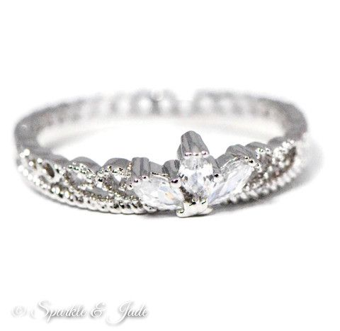 Sterling Silver Crown Ring and Rose Gold Band Set – Sparkle & Jade