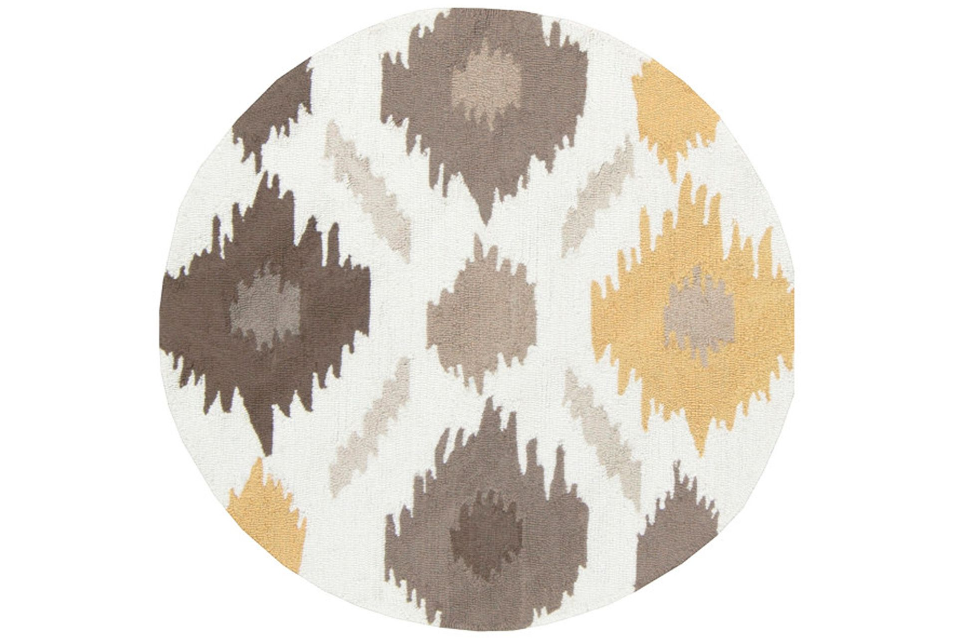 Round Rug Litura Gold Grey Yellow 70 Rugs