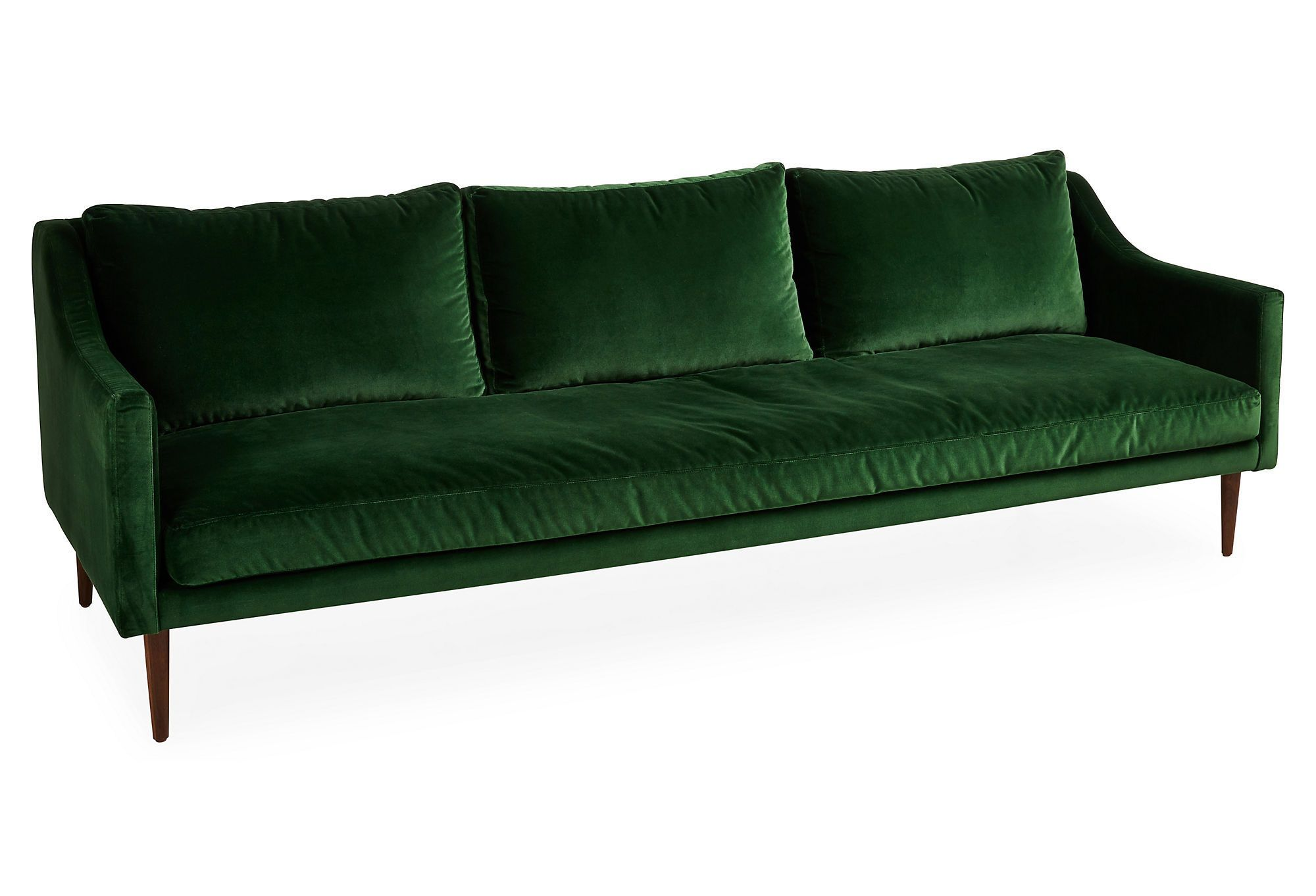 Emerald Velvet Upholstery Swoop Arms And Slender Tapered Legs Make This Naples Sofa An Undeniably Glamorous Piece The Cushion Fill Of High Density Foam