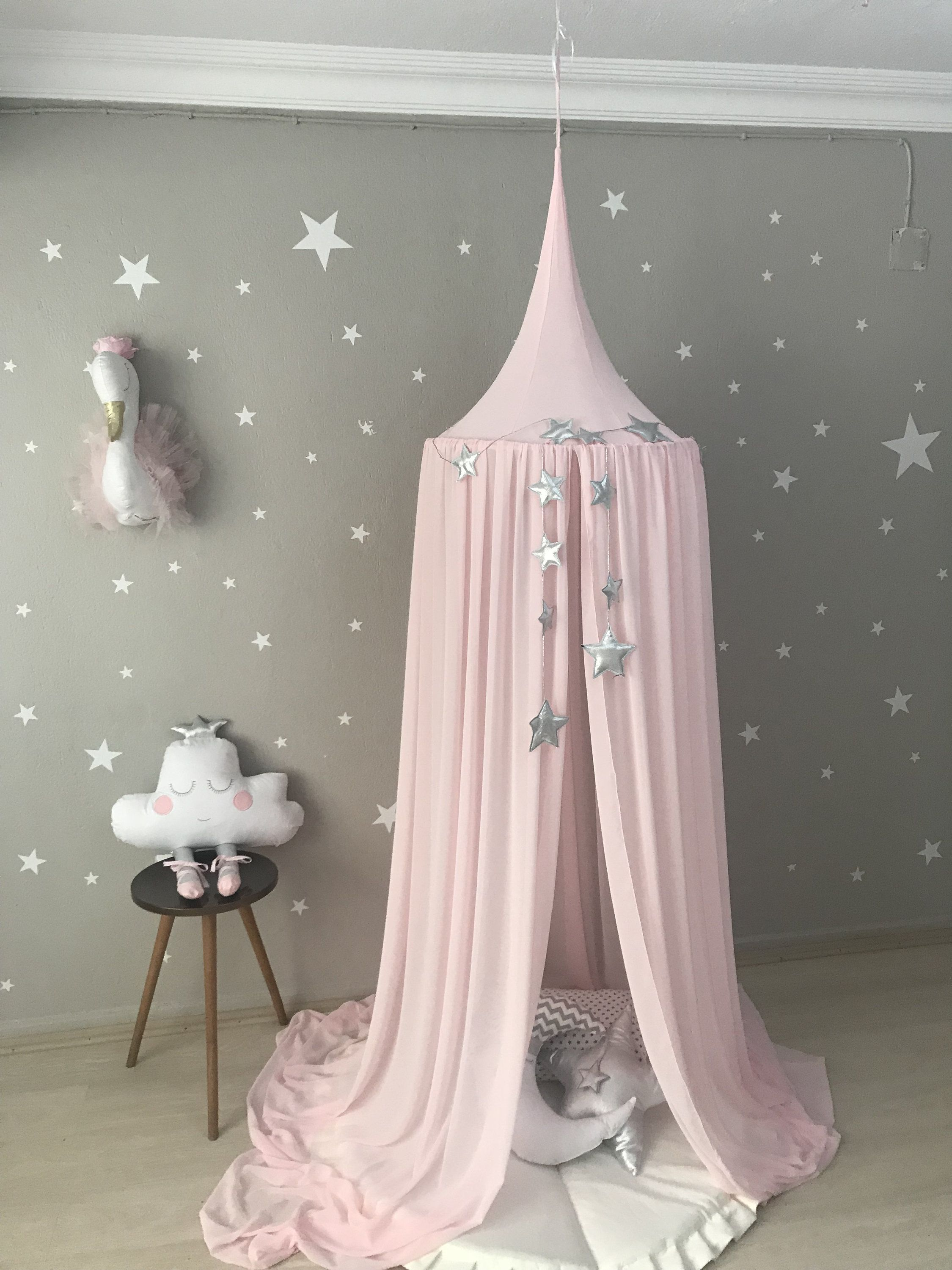 Photo of Pink Canopy, Chiffion baldachin, Ceiling Hanging Tent, Canopy for Nursery Kids, Reading Nook Tent, Bed Canopy, Crib canopy,Princess Canopy