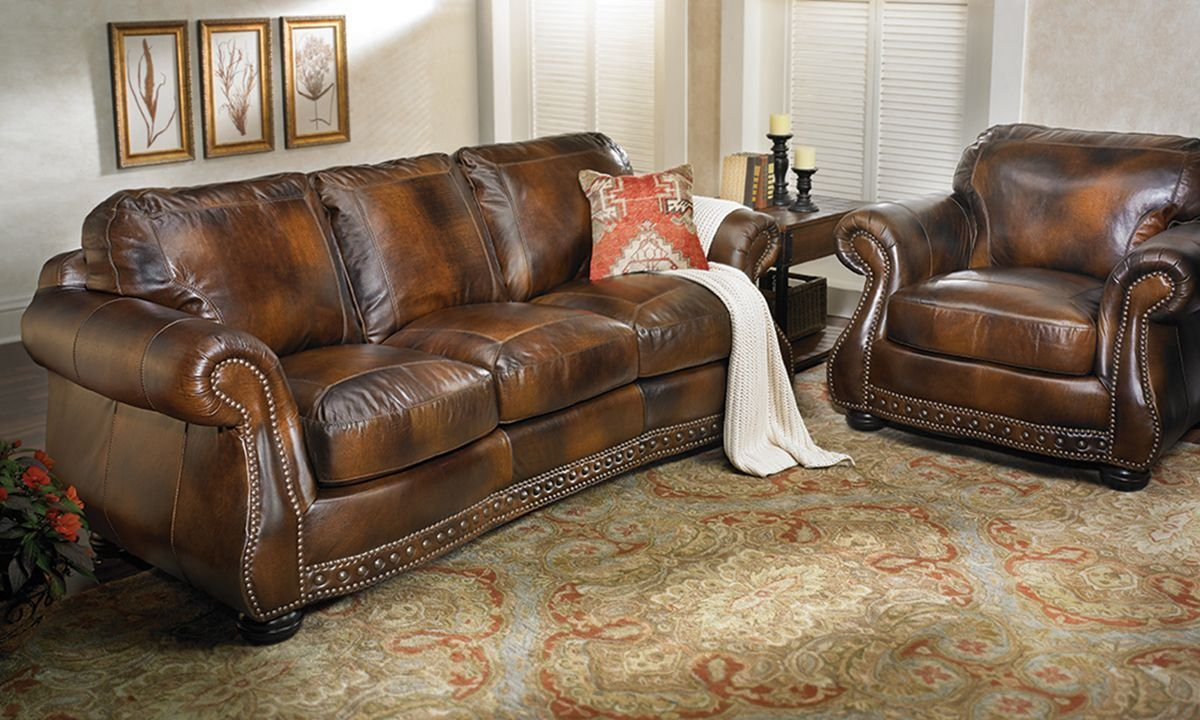 Down Feather Blend Leather Sofa | The Dump   Americau0027s Furniture Outlet