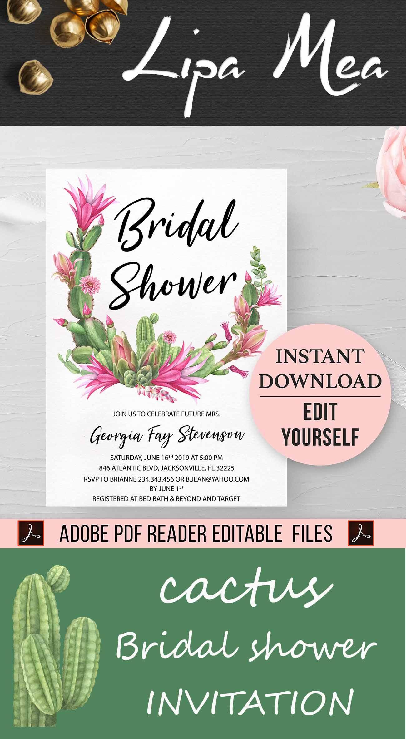 90d39abbd34 Floral Cactus bridal shower invitation template Instant Download Editable  Fiesta bridal shower invite
