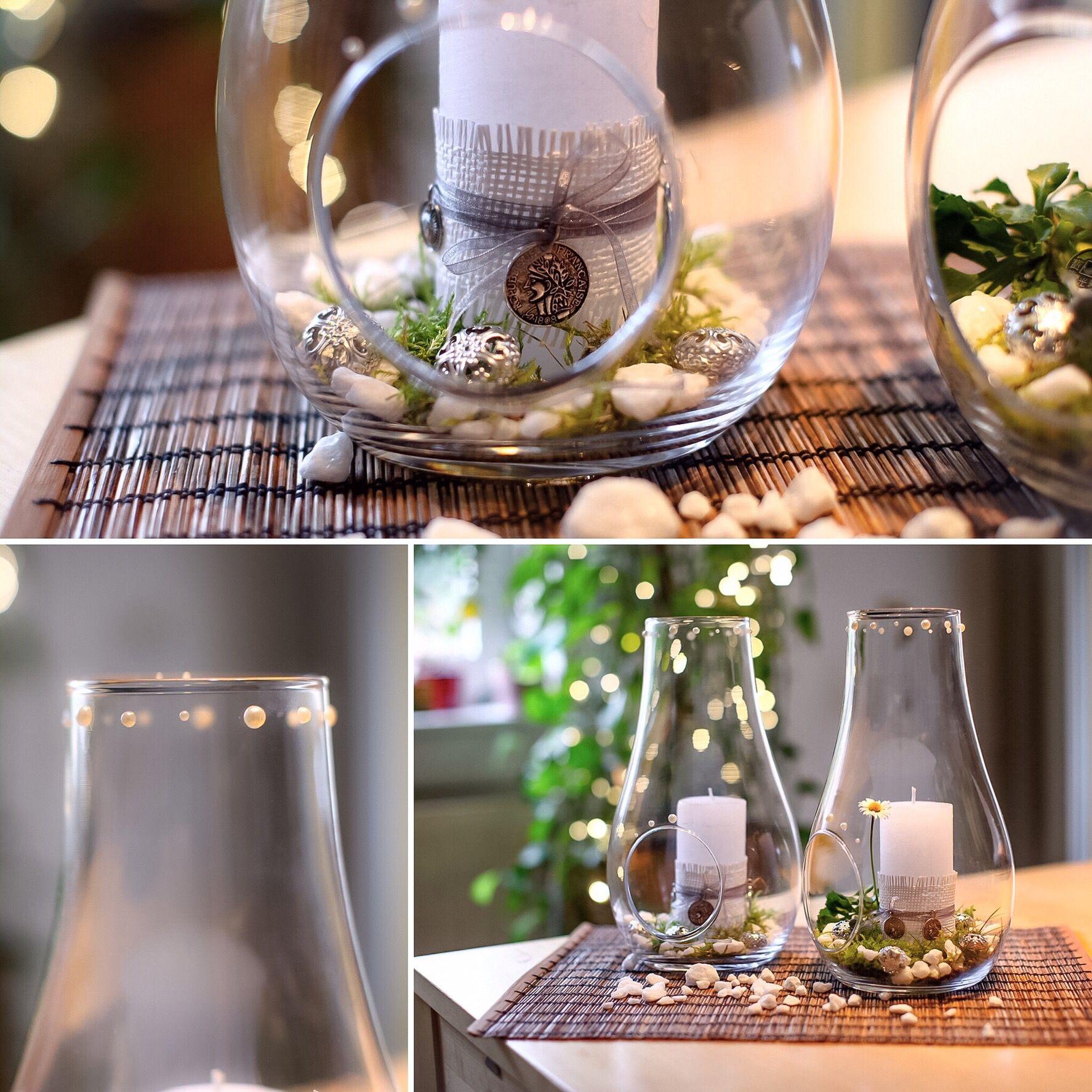 Deko Glas Mit Kerze Etwas Moos Weissen Steinen Und Perlen Deko
