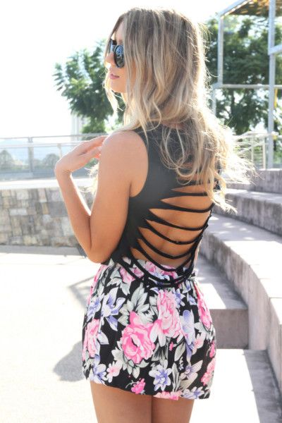floral Skirt and cut out back top