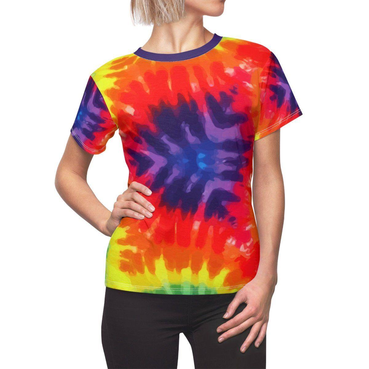 7fdfbb80 Psychedelic Tie Dye, Burst of Color,Women's AOP, Cut & Sew Tee in ...