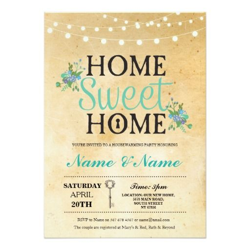 New Home Sweet Housewarming Key Lights Cute Invite  Cute
