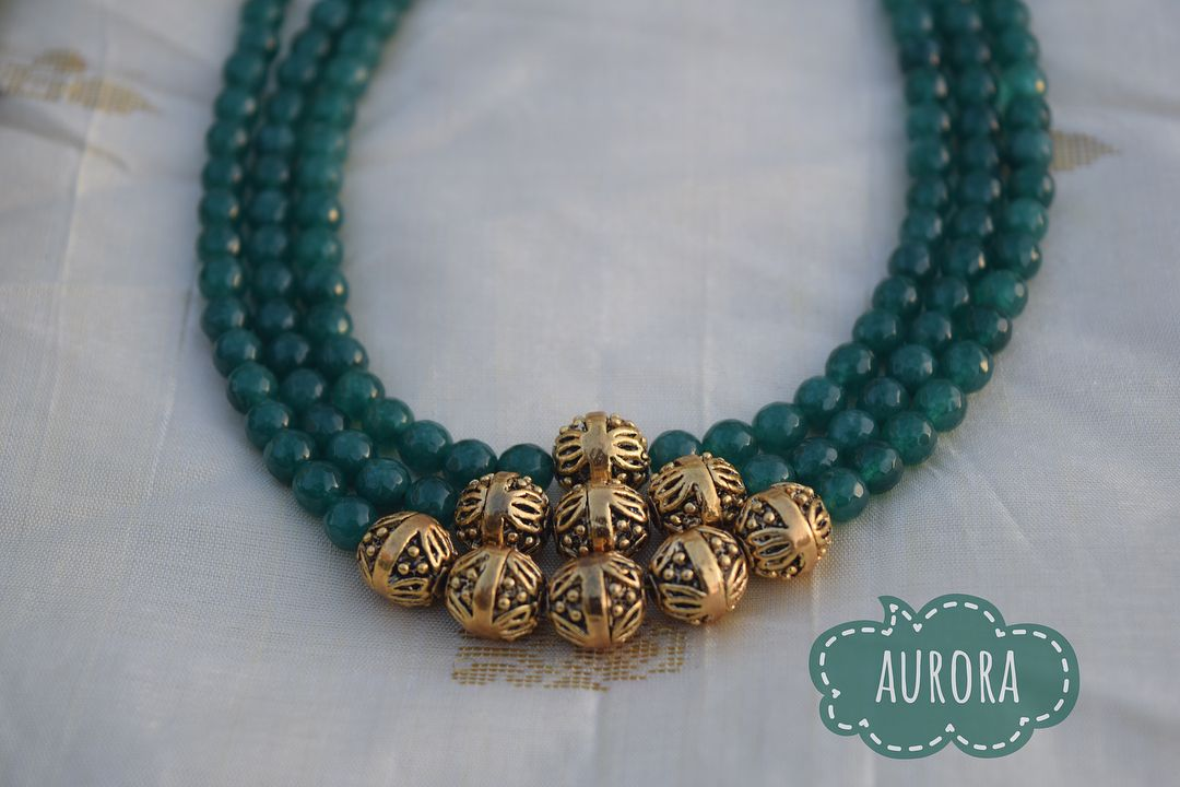 Gifts for Her Multi Layered Indian Inspired Pendant Chain Necklace Green