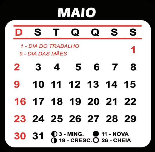 Calendário Maio 2021 Feriados e Fases da Lua | Imagem Legal em