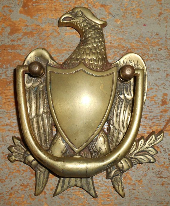 Beau Vintage Door Knocker Brass Eagle Door Knock Brass By TheBackShak, $45.00