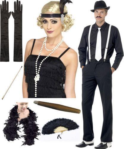 20er Ans Costume Robe Noir Charleston Mafia