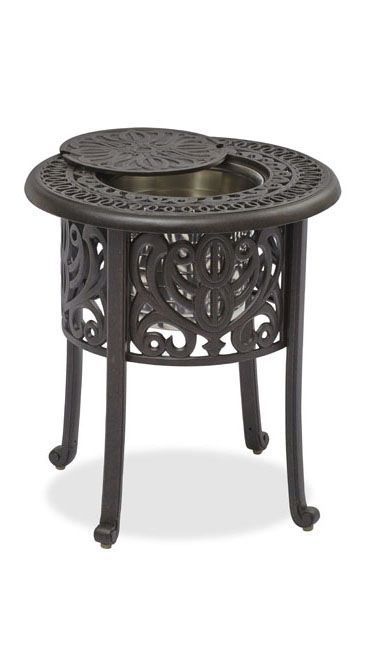 outdoor side table with ice bucket the stunning metal patio furniture unit