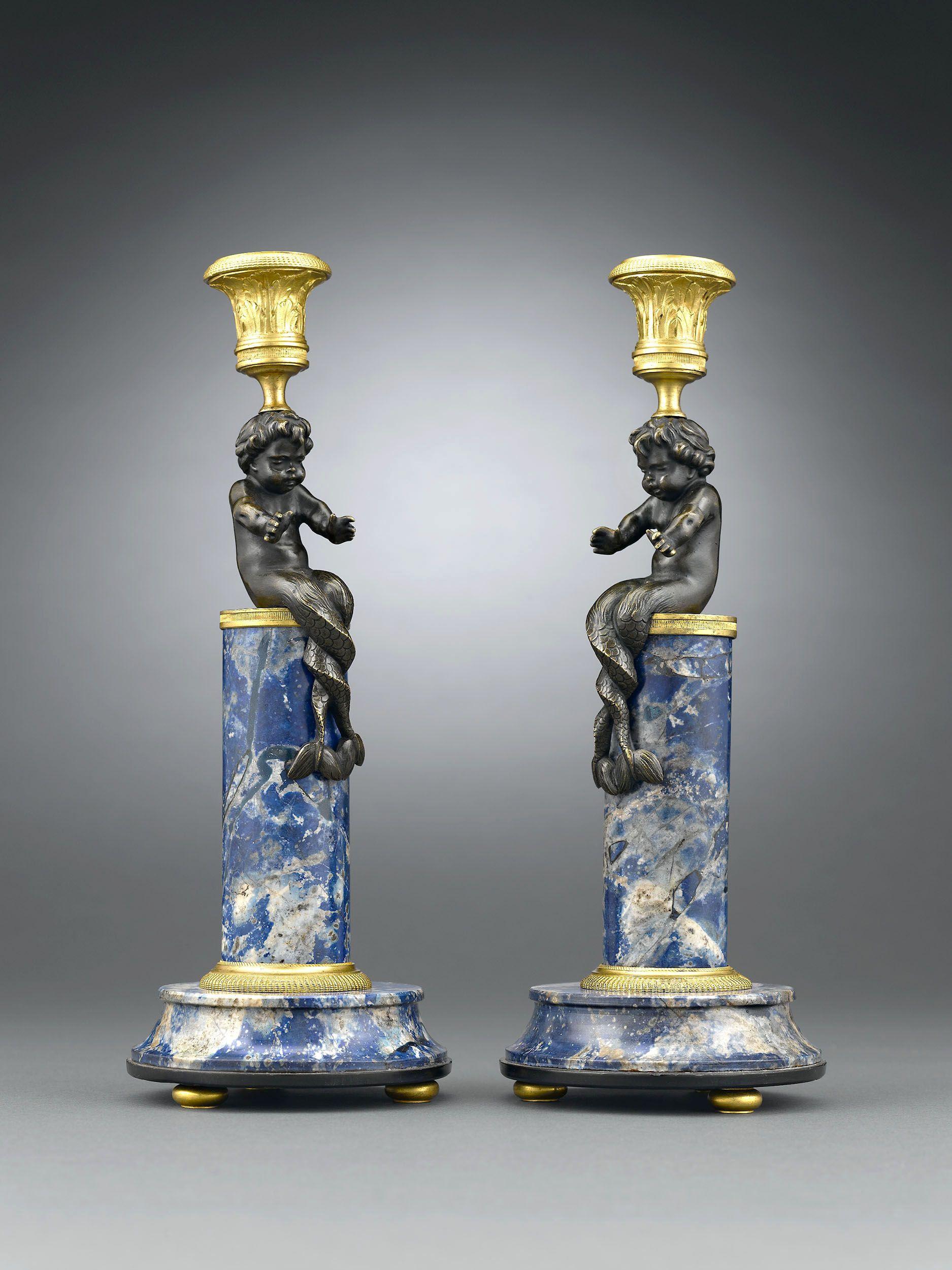 Renaissance Period Lapis Lazuli Candlesticks, Circa 1600