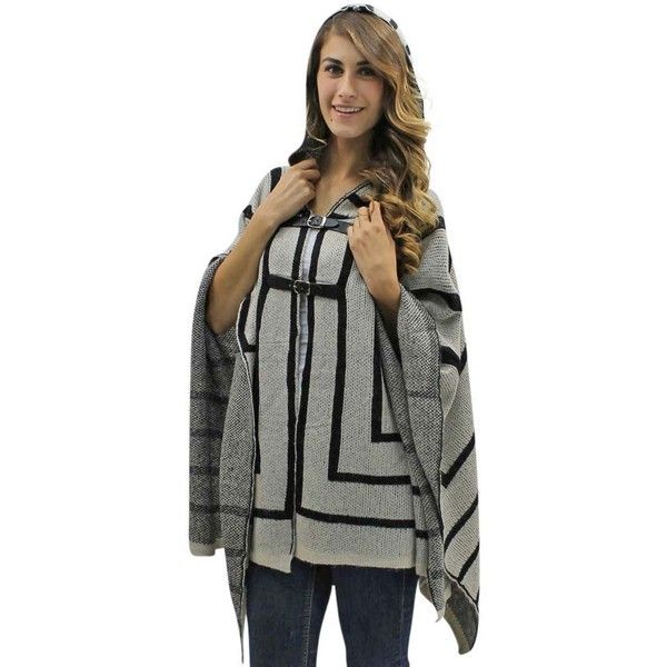 Beige & Black Thick Knit Poncho Style Shawl Top With Hood ($66) ❤ liked on Polyvore featuring outerwear, beige, poncho shawls, open front poncho, poncho shawl, long sleeve poncho, knit poncho and wrap shawl
